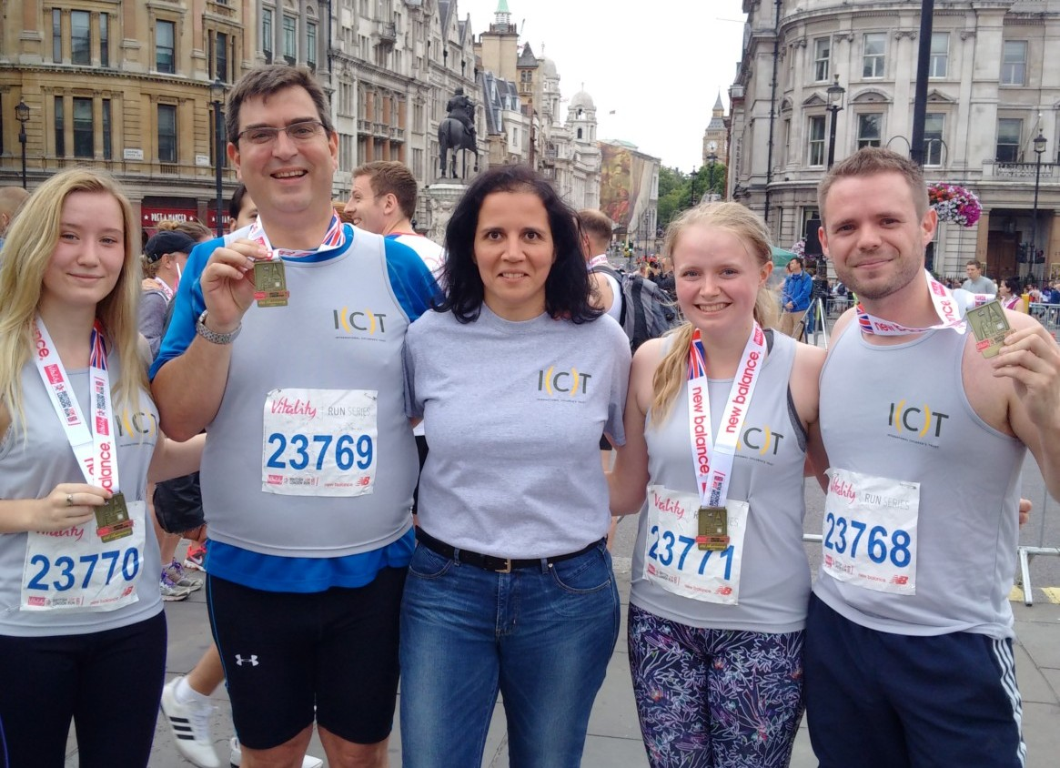 Photo of the runners for the International Children's Trust at the London 10k run