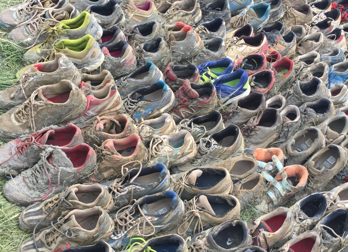 Photo of abandoned trainers at Tough Mudder