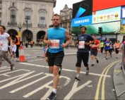 David (our Executive Director) running beside Piccadilly Circus