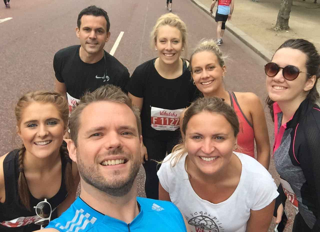 Our seven runners in the British 10k London Run prior to the race.