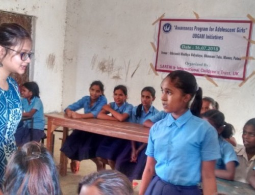 SARTHI Health and Menstruation Programme for Adolescent Girls in Schools in Patna, India.